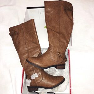 Faux Leather Taupe Brown Buckle High Knee Boot